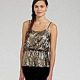 Gold is always a winner for the holidays, so this Aryn K sequined peplum top ($53, originally $89) will be a hit wherever you party.