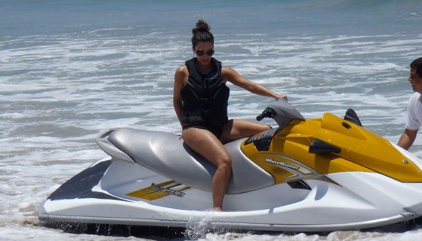 Kim hopped on a water ski.  Source: Casa Aramara