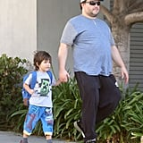 Jack Black walked his son Samuel to school on Friday in LA.