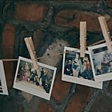 The fireplace is decorated with pictures of Charli and her friends, hung with clothespins.
