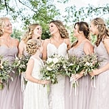 This bridal party was all smiles in a purple-beige hue.