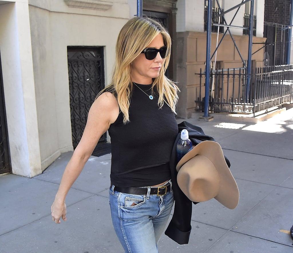Jennifer Aniston's Evil-Eye Necklace in New York Sept. 2016
