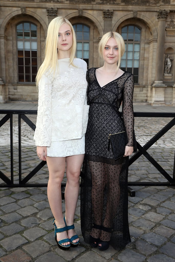 Elle and Dakota Fanning arrived together for the Louis Vuitton show on Wednesday.