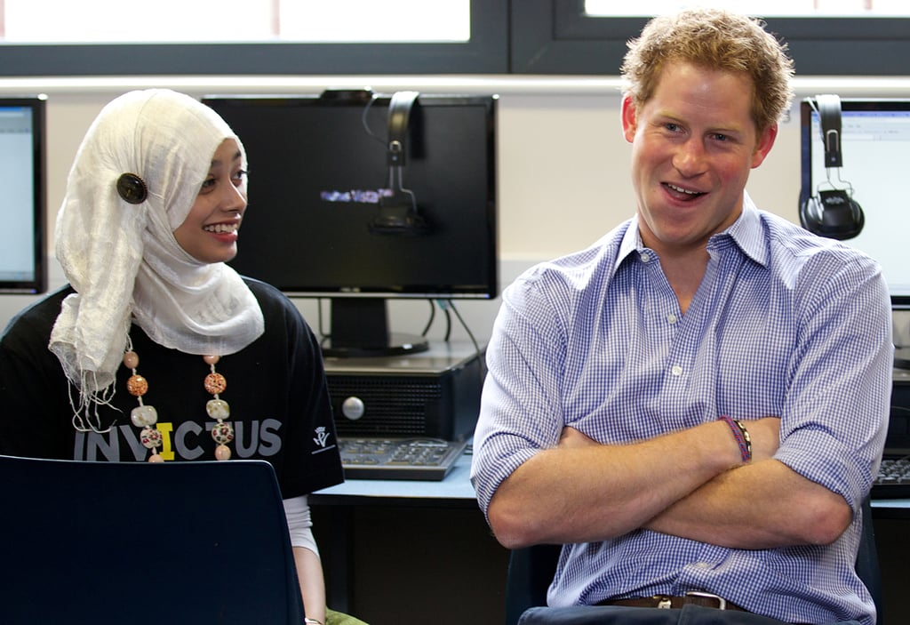 """During a visit to Bethnal Green Academy on Monday, Prince Harry opened up about why he isn't such a big fan of social media. He met with 60 students from local schools who were taught how to tweet and post on Facebook to share information about the Invictus Games, Prince Harry's international Paralympic-style event coming up this Fall. In a short question-and-answer session, he addressed issues of social media and privacy, saying, """"I would love to tweet about things I care about but it's a fine line between what you should do and what you can do, and what other people want to know and what you don't want them to know."""" Prince Harry also talked about the pros and cons of social media, saying, """"The issue for myself and my family, put quite simply, is that it's very hard for me to tweet about the Invictus Games and tweet about something that means a lot to me, whereas I at the same time really quite hate Twitter by the invasion of privacy. I think you all understand what I'm talking about.""""  Prince Harry also talked about how much the Invictus Games meant to him. He told the students, """"For me, this is an opportunity for the British public to say thank you to these people from across the world for their service."""" The Invictus Games will take place at the Olympic Park in London from Sept. 10-14, with around 600 military veterans from 14 countries competing."""