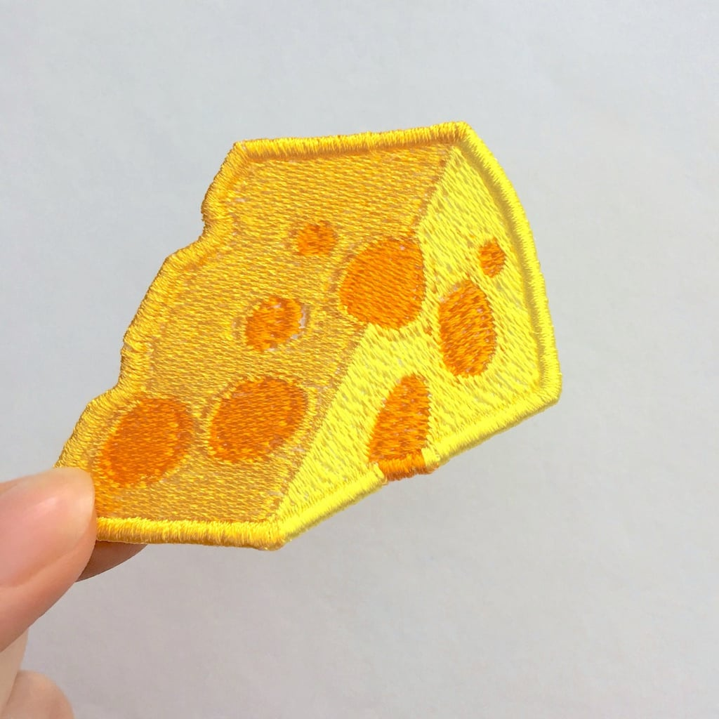 Embroidered Cheese Wedge Emoji Patch ($5)