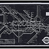 Black and White Blueprint of London Underground in Black Frame ($119)