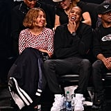 Jay Z and Beyoncé sat courtside at a Brooklyn Nets Game on Tuesday night in NYC.