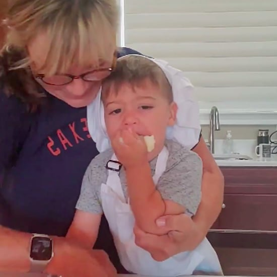 Kid Eating Cookie Ingredients While Baking With Nana | Video