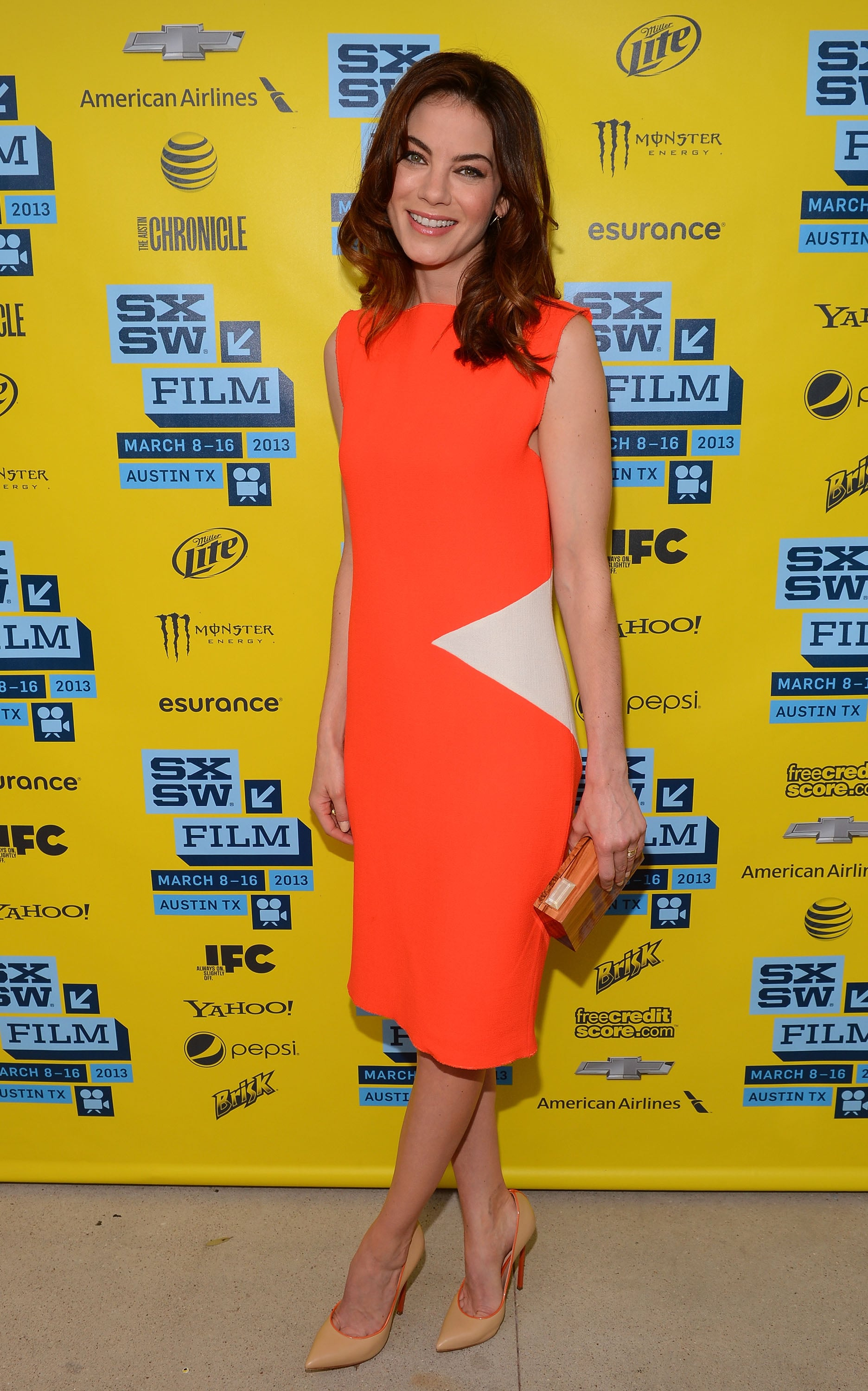 Michelle Monaghan brightened up the festival in her orange Roksanda Ilincic sheath dress and Casadei's nude-and-orange Blade pumps at the premiere of Gus.