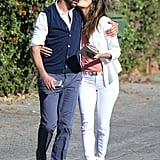 Eva Longoria kissed Jose Antonio Baston during a Sunday lunch date in Santa Monica.