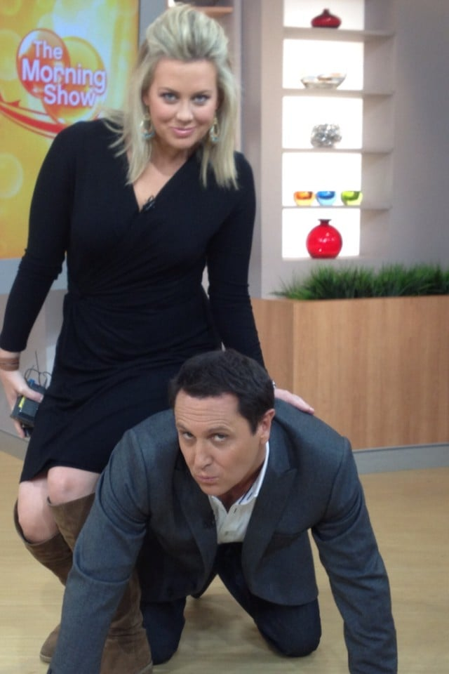 Larry Emdur and Samantha Armytage posed for the February photo of a joke calendar. Source: Twitter user larryemdur