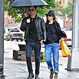 Jen Chose a Relaxed Boyfriend Jean on a Rainy Day