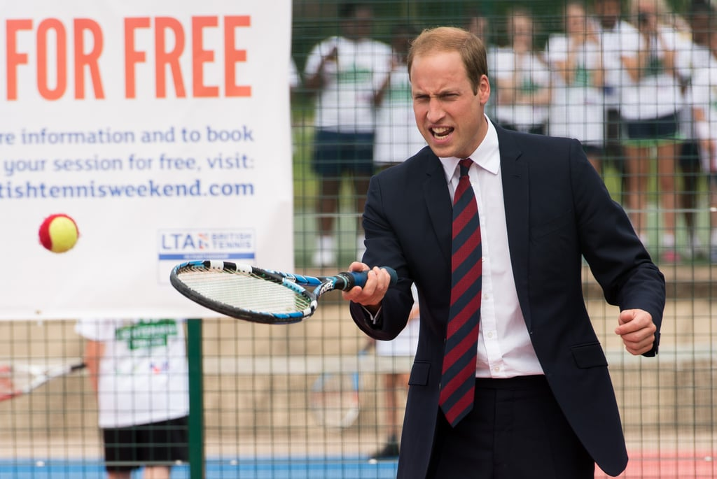 Prince William brought both his serious and playful sides when he visited Coventry War Memorial Park on Wednesday in Coventry, England. The Duke of Cambridge was there to mark the centenary of World War I, speaking to veterans and giving a speech at the park. He shifted gears to plant trees with children and play a game of tennis, having some signature dorky moments with his racket in hand. Though his wife, Kate Middleton, is the more notable tennis player in the royal family, they both enjoy the sport. The couple had quite an emotional time at the Wimbledon men's final earlier this month, and soon after, William was embracing another fun activity: snorkeling. Kate and William have been making separate appearances over the past few weeks — including his history-making selfie with Prince Harry — but they are reportedly thinking about giving Prince George a sibling soon. A source close to the royal family says that they are planning on having a second baby but haven't said exactly when that will be.