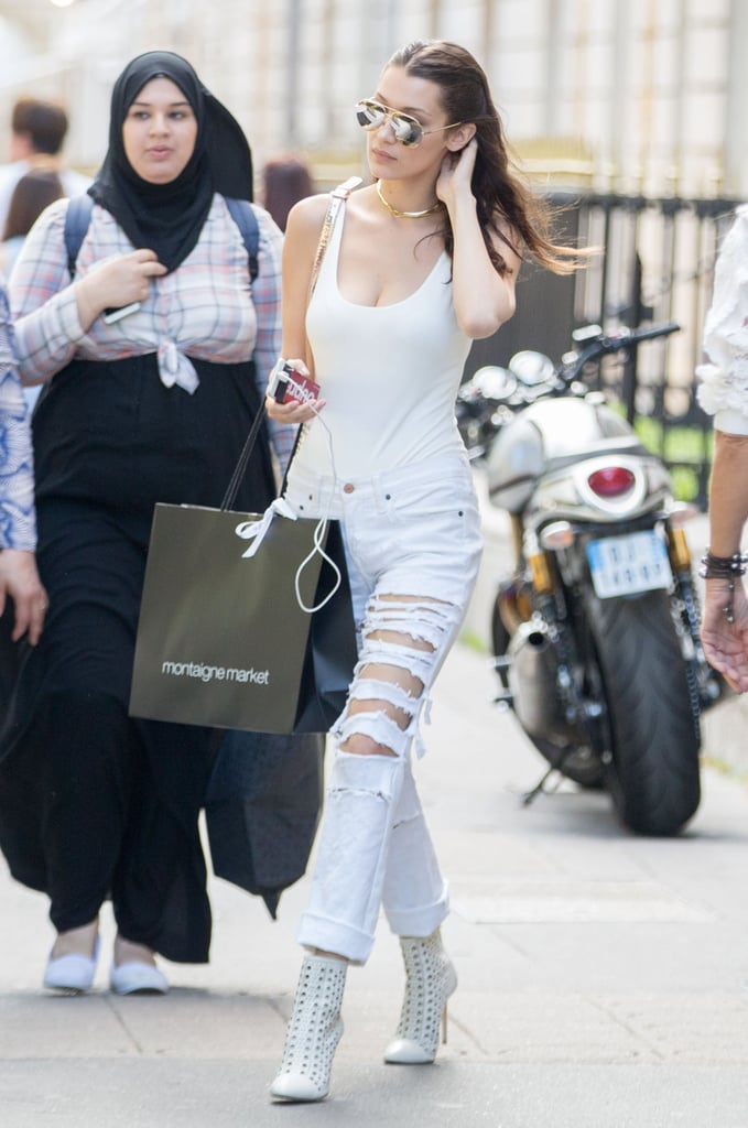 Bella Hadid Wearing Ripped Jeans July 2016