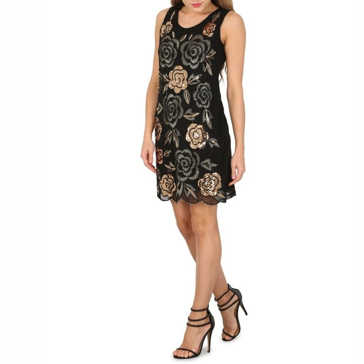 Izabel London Black Sequin and Embroidered Rose Detail Dress