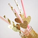 Glitter Hearts Party Straws