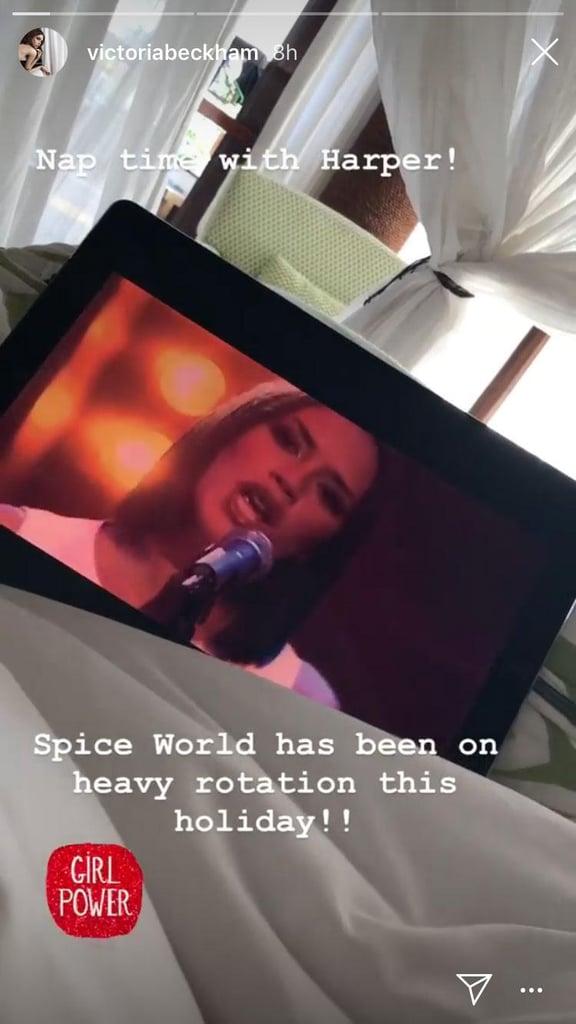 Harper and Victoria Beckham Watch Spice World