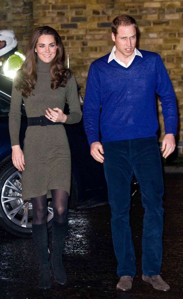 For a more casual outing, Kate Middleton chose a sage-green turtleneck dress by Ralph Lauren, black tights, and black Aquatalia boots.
