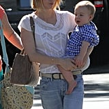 January Jones had her hands full on a lunch date with Xander Jones.