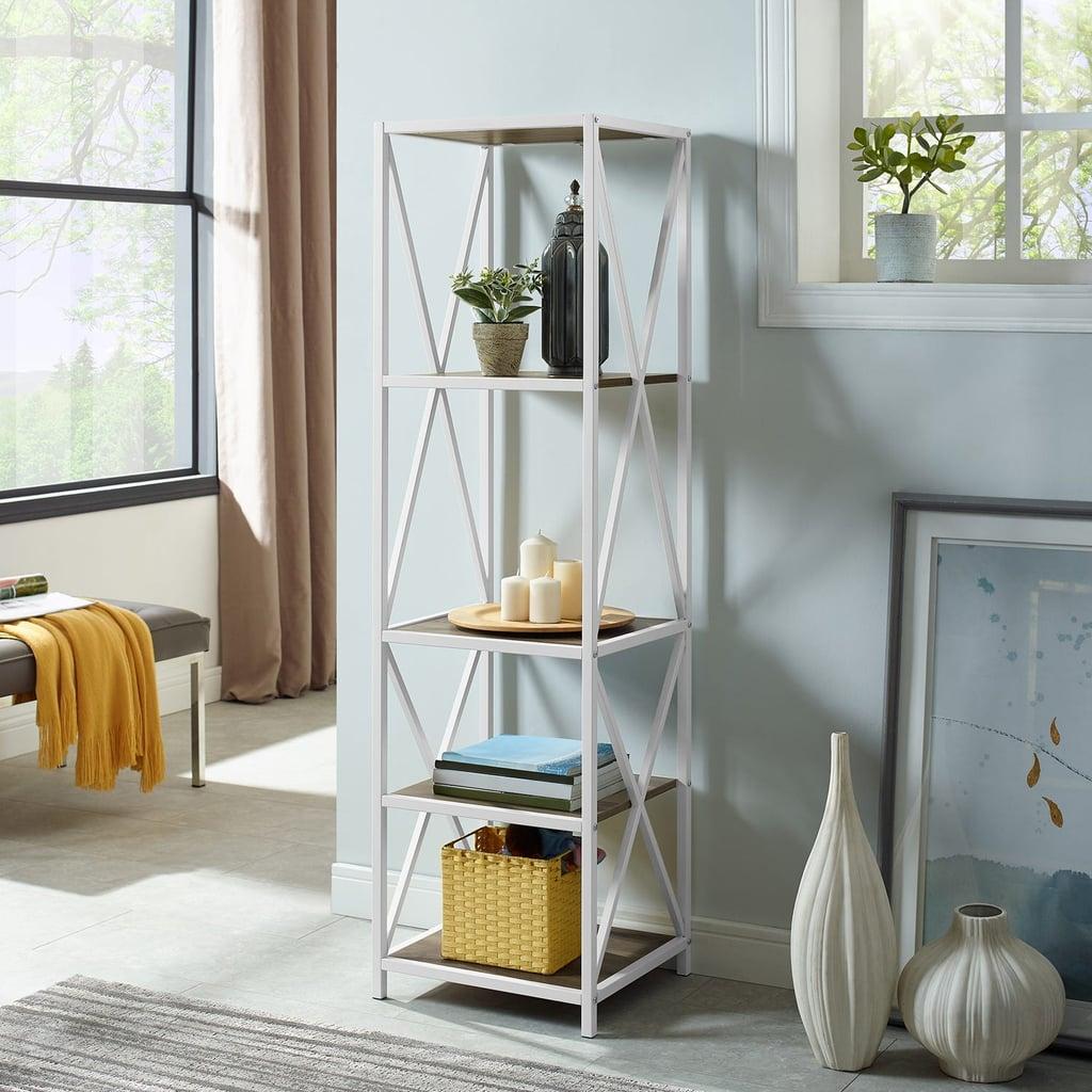 reputable site e5347 58545 Rustic Oak Wood and White Metal Media Bookshelf | Best Small ...