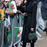 ‎Meghan Markle Carrying a DeMellier Mini Venice Leather Bag in Forest Grain