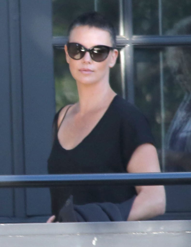 Charlize Theron showed off her shaved head.