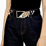 Topshop Black and Snake Print Leather Wide Belt