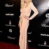 Lindsay Lohan wore a long dress to a 2012 Golden Globe Awards after party.