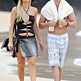 Paris Hilton Dons a Crazy Cutout Swimsuit in Hawaii With Boyfriend Cy