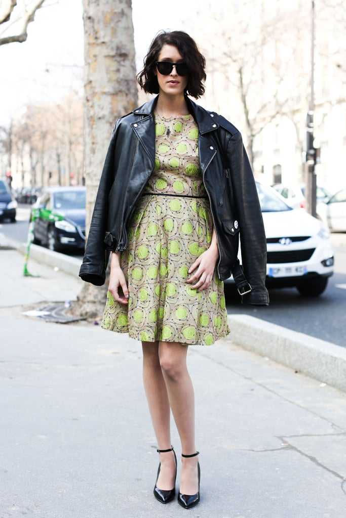 The sweetness of this little dress presented the perfect counterpoint for a tough-girl leather jacket.