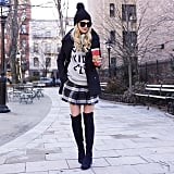 Preppy With a Plaid Skirt and Pea Coat