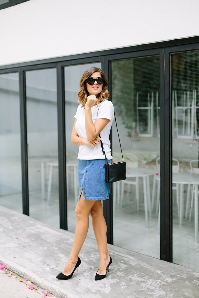 Wearing: DIY skirt, Grana tee, Céline bag, J.Crew pumps, Nick Campbell sunglasses