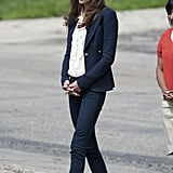Kate matched her Smythe blazer to dark jeans and navy L.K. Bennett slingbacks during a visit into town. She added a feminine touch with the addition of a cream ruffled blouse.