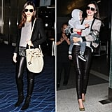 This may just be the key to stealing Miranda Kerr's flawless travel style. We've spotted the model mom on more than one occasion hitting the jetport in a pair of slick leather bottoms. Leather pants offer a cooler finish than average blue jeans — and they're just as functional.