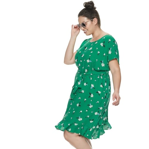 POPSUGAR Plus Size Print Tie-Waist Dress