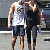 Emily VanCamp and Josh Bowman stayed close as they left the gym.