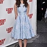 Emmy Rossum wore an ice-blue jacquard Temperley London fit-and-flare dress with silver Rupert Sanderson pumps to a Broadway play opening.