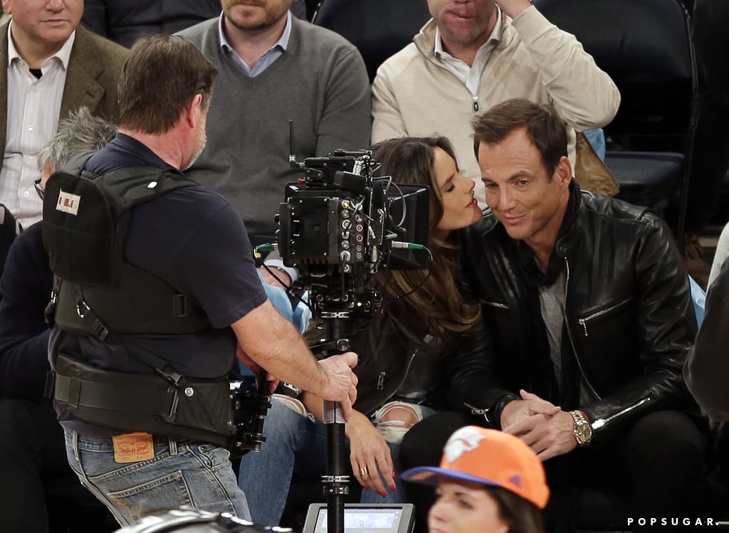 Model Alessandra Ambrosio laughed alongside Will Arnett on Wedenesday at the New York Knicks game, at one point leaning in to kiss him on the cheek in front of the cameras. The duo was all smiles as she snapped a selfie, later chatting and sharing some popcorn during the game. Alessandra and Will definitely seemed to enjoy each other's company, but it's unclear as to whether they're just friends or something more. The model has been engaged to Jamie Mazur since 2008, and in January they went on a family vacation with their kids, Anja and Noah.  Those two weren't the only famous faces at the game, as Olivia Wilde and Jason Sudeikis also sat in the front row with Marcus Mumford. Jason was busy making funny faces beside his other half, and Marcus leaned in to smile for the cameras. (Remember when Jason Sudeikis starred in that Mumford & Sons video?) The stars' fun night out came at the end of an exciting month for Alessandra, who was among the many models at Paris Fashion Week, and Marcus has enjoyed some excitement of his own thanks to the recent release of Mumford and Sons' new single and his cute couple's outing with Carey Mulligan. Check out all the must-see pictures from this week's Knicks game, then stay in the (sort of) basketball spirit by voting in our March Man-ness poll!