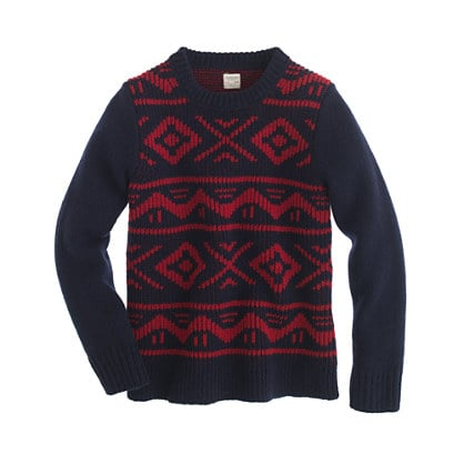 With a traditional pattern in classic shades, J.Crew's graphic crewneck sweater ($68, originally $78) is the perfect preppy pick.