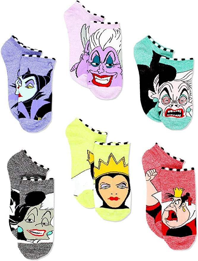 Disney Villains Women's 6 Pack Socks