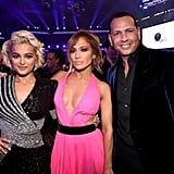Pictured: Bebe Rexha, Jennifer Lopez, and Alex Rodriguez