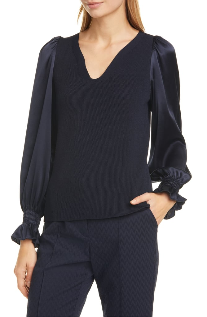 Tailored by Rebecca Taylor Long-Sleeve Pullover Blouse