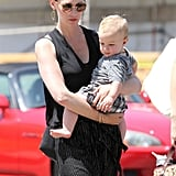 January Jones wore sunglasses and her hair pulled back in LA.