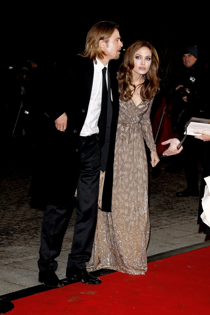 Angelina Jolie in a Gold Gown With Brad Pitt Pictures