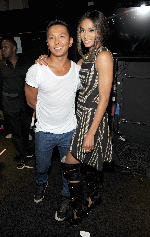 Ciara stayed close to designer Prabal Gurung backstage at his show on Saturday.
