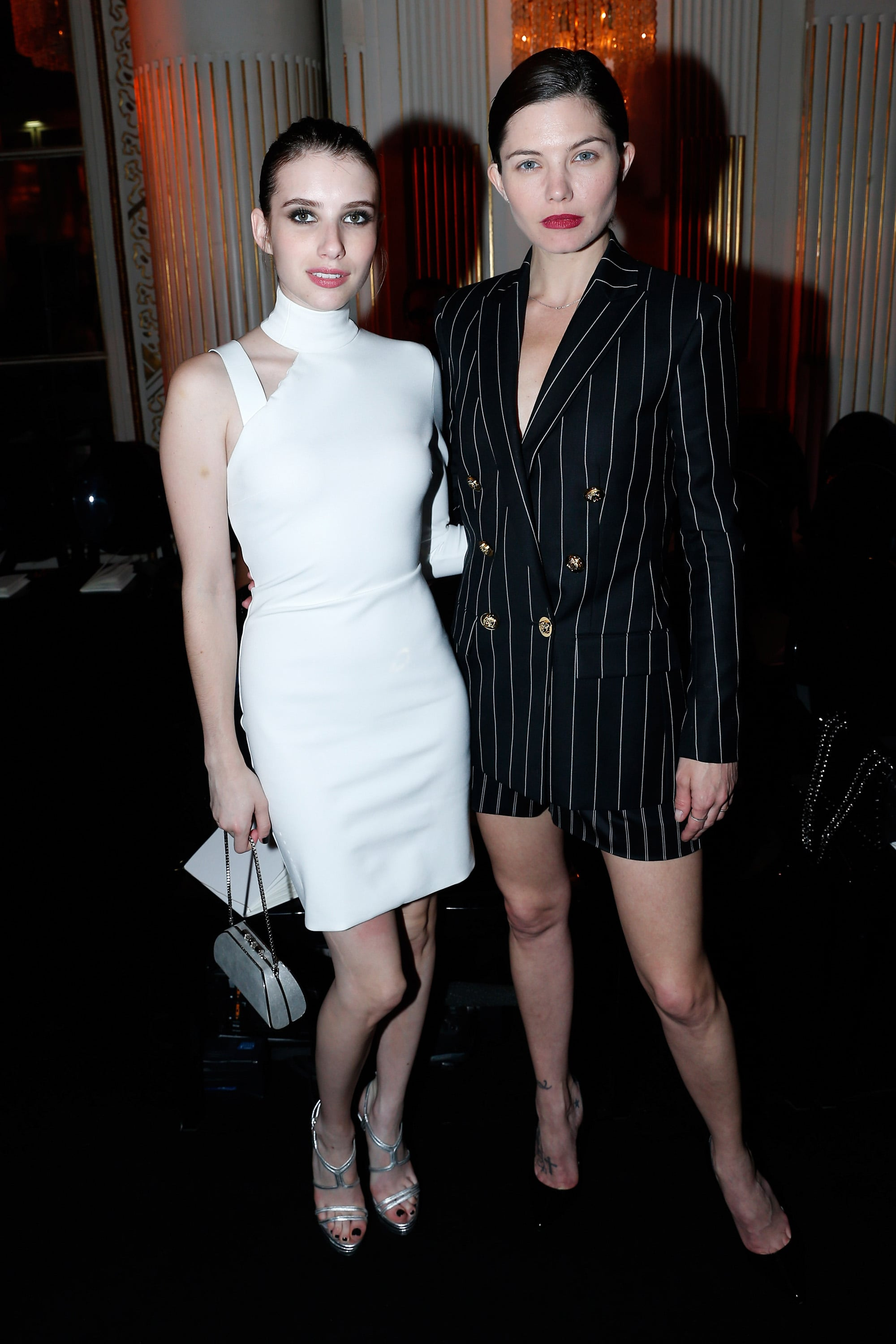 Black and white made for a dramatic pairing when Emma Roberts and  Delphine Chanéac shared a shot at Atelier Versace.