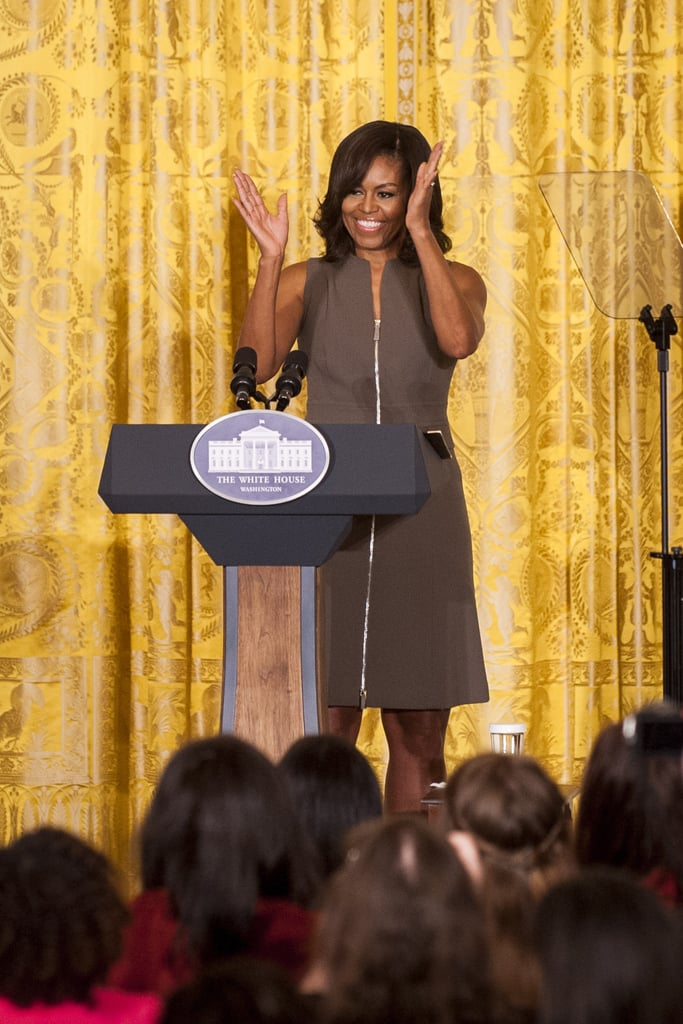 Michelle Obama has been leading the charge when it comes to fully embracing the arrival of Spring fashion. After wearing a short-sleeved floral dress and a colorful ensemble to recent engagements, Michelle has proved once and for all that it's time for Spring fashion — for real. For a Let's Move! event with bloggers at the White House on Tuesday, Michelle wore yet another stunning and perfect-for-warmer-weather look. She selected a sleeveless light-brown dress, which was complete with a zipper detail up the front. The emphasis on seasonality was similar to the lovely, floral Jason Wu strapless gown she sported to last week's official state dinner. Read on for more photos of Michelle's latest great look.