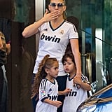Jennifer Lopez and her twins, Max and Emme, donned matching jerseys to attend a soccer game in Spain.