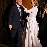 Meryl Streep greeted former president Bill Clinton at the Revlon Concert for the Rainforest Fund at Carnegie Hall in NYC.
