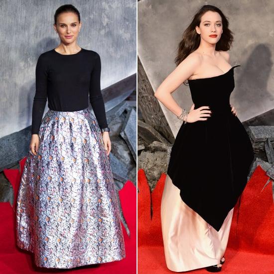 Natalie Portman and Kat Dennings Dresses at Thor 2 Premiere